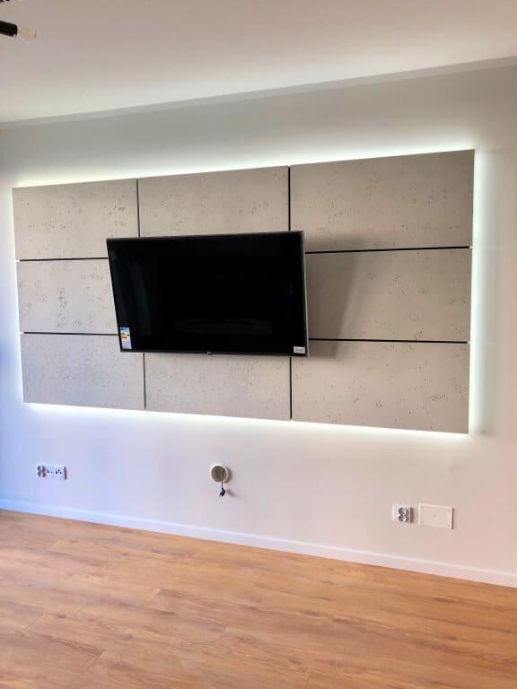 aranżacja ściany z telewizorem